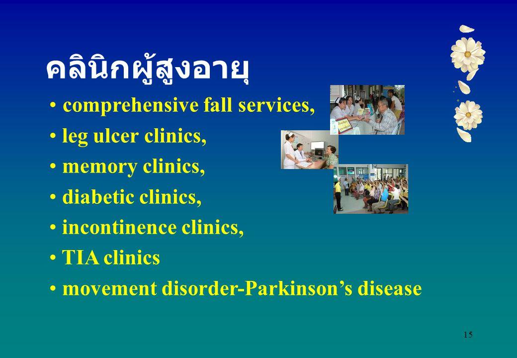 15 comprehensive fall services, leg ulcer clinics, memory clinics, diabetic clinics, incontinence clinics, TIA clinics movement disorder-Parkinson's d