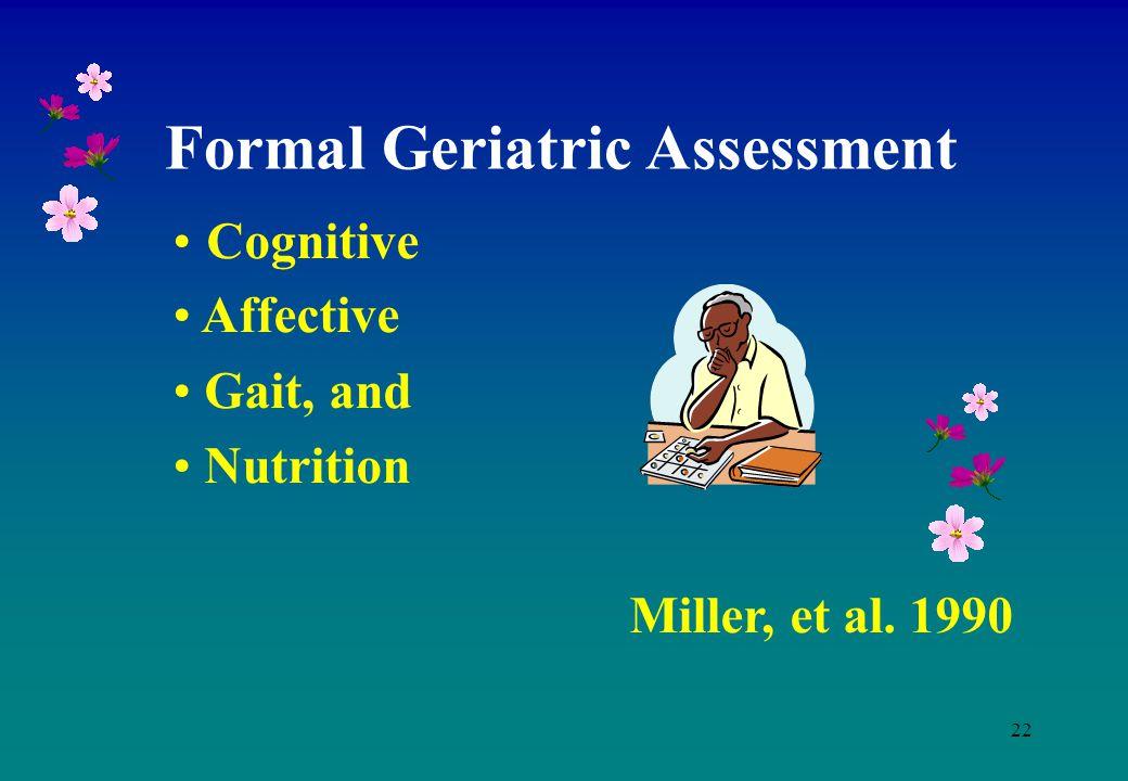 22 Cognitive Affective Gait, and Nutrition Miller, et al. 1990 Formal Geriatric Assessment