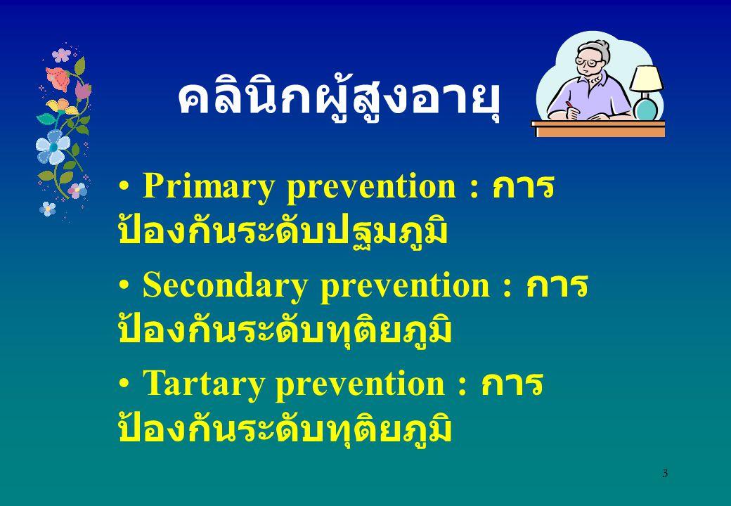 3 Primary prevention : การ ป้องกันระดับปฐมภูมิ Secondary prevention : การ ป้องกันระดับทุติยภูมิ Tartary prevention : การ ป้องกันระดับทุติยภูมิ คลินิกผ
