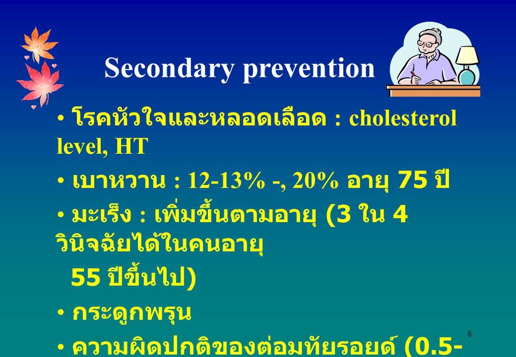 8 โรคหัวใจและหลอดเลือด : cholesterol level, HT เบาหวาน : 12-13% -, 20% อายุ 75 ปี มะเร็ง : เพิ่มขึ้นตามอายุ (3 ใน 4 วินิจฉัยได้ในคนอายุ 55 ปีขึ้นไป )