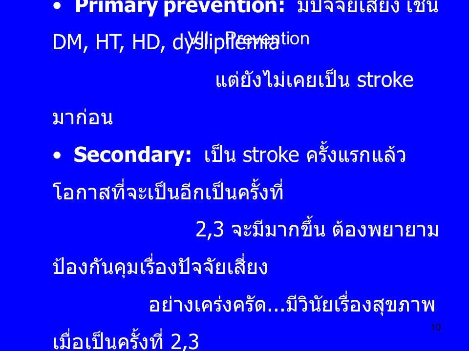 10 Primary prevention: มีปัจจัยเสี่ยง เช่น DM, HT, HD, dyslipilemia แต่ยังไม่เคยเป็น stroke มาก่อน Secondary: เป็น stroke ครั้งแรกแล้ว โอกาสที่จะเป็นอ