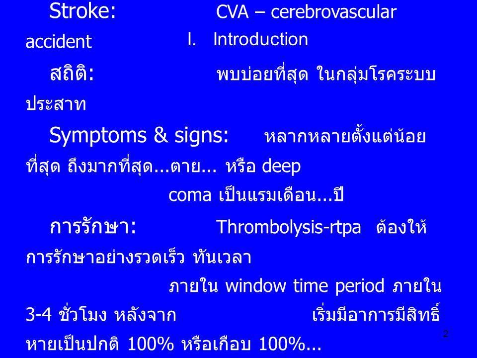 2 Stroke: CVA – cerebrovascular accident สถิติ : พบบ่อยที่สุด ในกลุ่มโรคระบบ ประสาท Symptoms & signs: หลากหลายตั้งแต่น้อย ที่สุด ถึงมากที่สุด... ตาย..