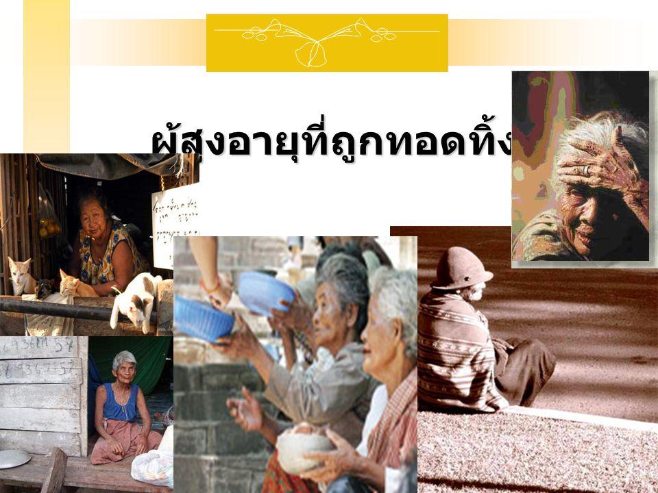 สถานการณ์ผู้สูงอายุ สังคมผู้สูงอายุ สังคมผู้สูงอายุ  Aging Society : สังคมนั้นมีผู้สูงอายุ ตั้งแต่ 65 ปีขึ้นไป 7%  Aged Society : สังคมนั้นมี ผู้สูงอายุ ตั้งแต่ 65 ปีขึ้นไป 14% ประเทศไทยเป็น Aging Society ปี พ.