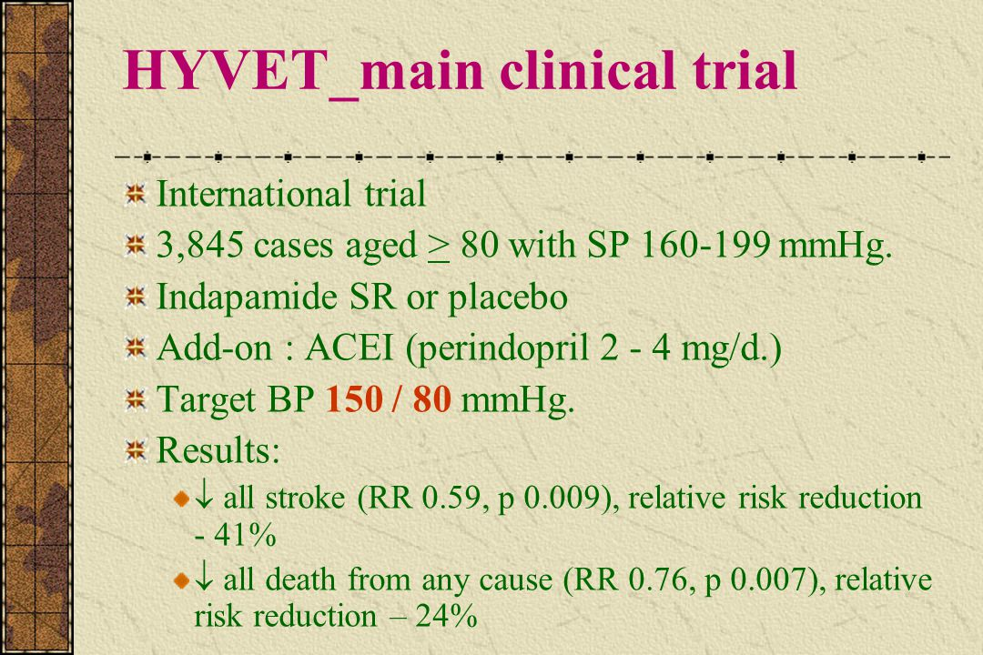 HYVET_main clinical trial International trial 3,845 cases aged > 80 with SP 160-199 mmHg. Indapamide SR or placebo Add-on : ACEI (perindopril 2 - 4 mg