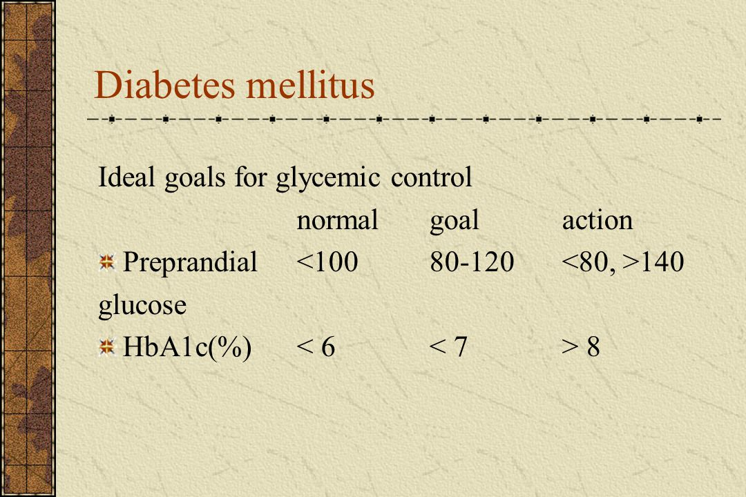 Diabetes mellitus Ideal goals for glycemic control normalgoalaction Preprandial 140 glucose HbA1c(%) 8