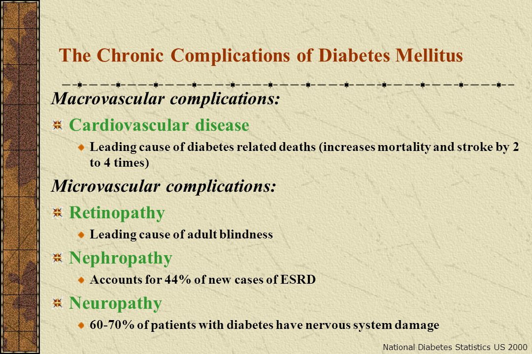 The Chronic Complications of Diabetes Mellitus Macrovascular complications: Cardiovascular disease Leading cause of diabetes related deaths (increases