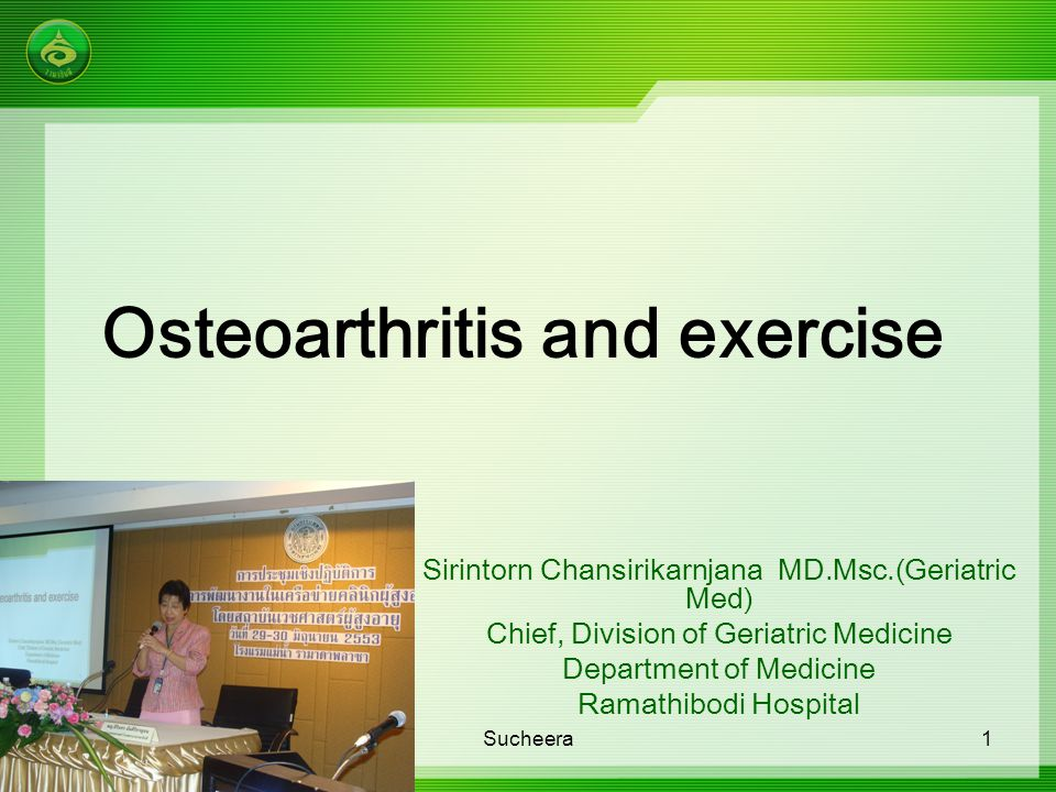 Current Treatment of Osteoarthritis  Non-Pharmacologic Therapy Patient education Programmed exercises Weight loss Joint protection Thermal modalities  Surgical Approaches Arthroscopic debridement Osteotomy Total joint arthroplasty  Pharmacologic Therapy Nonopioid analgesics (e.g., acetaminophen) Topical analgesics (e.g., capsaicin) Nonsteroidal anti- inflammatory drugs Intra-articular steroid Intra-articular hyaluronate Opioid analgesics Sucheera12