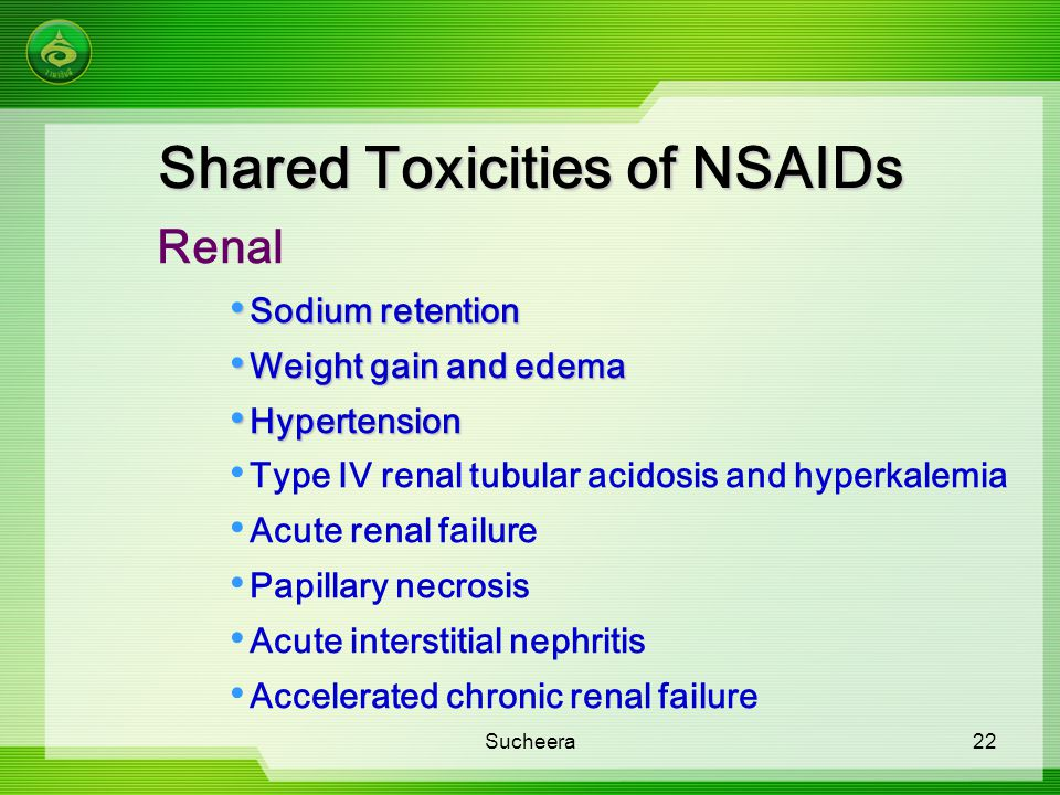 Shared Toxicities of NSAIDs Renal Sodium retention Sodium retention Weight gain and edema Weight gain and edema Hypertension Hypertension Type IV rena