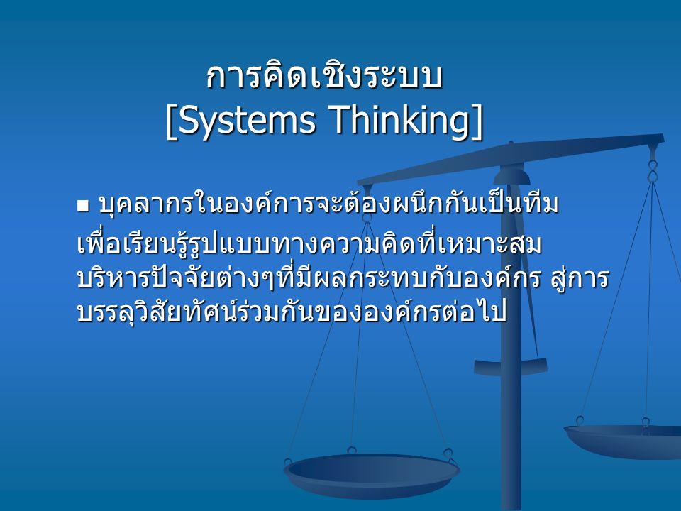 การคิดเชิงระบบ [Systems Thinking] บุคลากรในองค์การจะต้องผนึกกันเป็นทีม บุคลากรในองค์การจะต้องผนึกกันเป็นทีม เพื่อเรียนรู้รูปแบบทางความคิดที่เหมาะสม บร