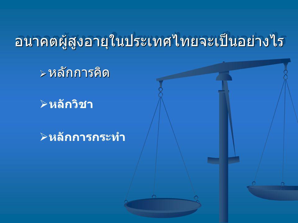 อนาคตผู้สูงอายุในประเทศไทยจะเป็นอย่างไรอนาคตผู้สูงอายุในประเทศไทยจะเป็นอย่างไร  หลักการคิด  หลักวิชา  หลักการกระทำ