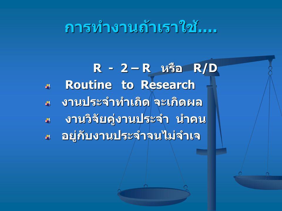 การทำงานถ้าเราใช้.... R - 2 – R หรือ R/D Routine to Research Routine to Research งานประจำทำเถิด จะเกิดผล งานวิจัยคู่งานประจำ นำคน งานวิจัยคู่งานประจำ