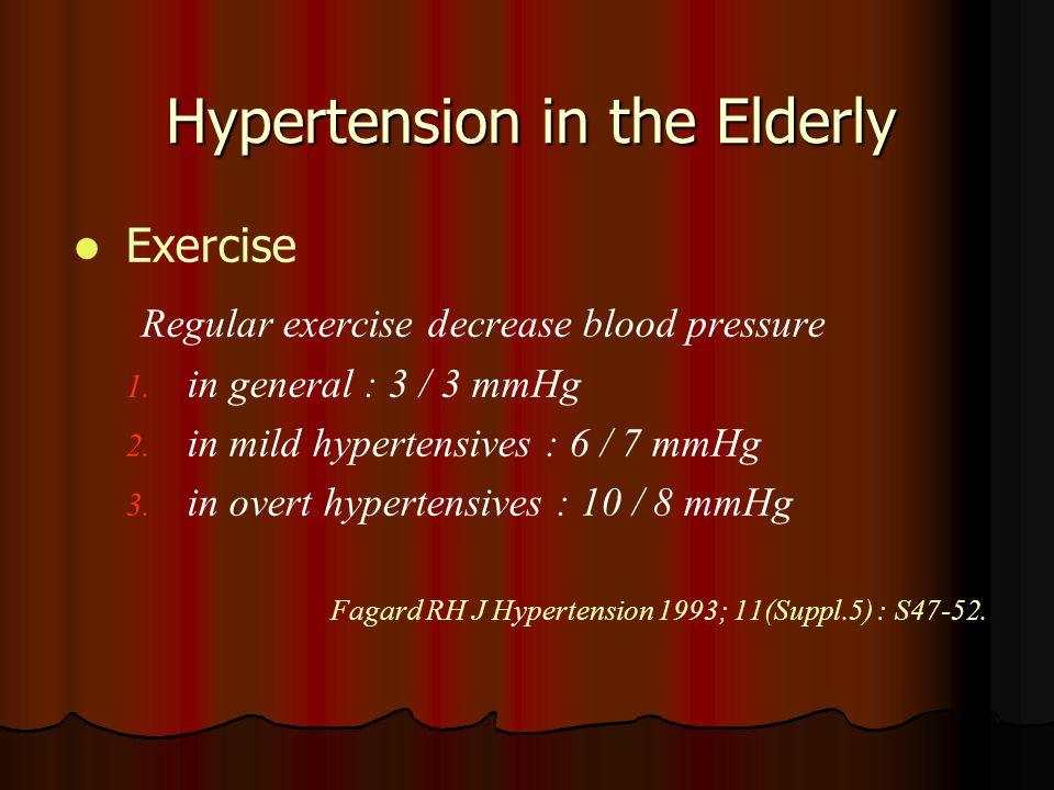 Hypertension in the Elderly Exercise Regular exercise decrease blood pressure 1. 1. in general : 3 / 3 mmHg 2. 2. in mild hypertensives : 6 / 7 mmHg 3