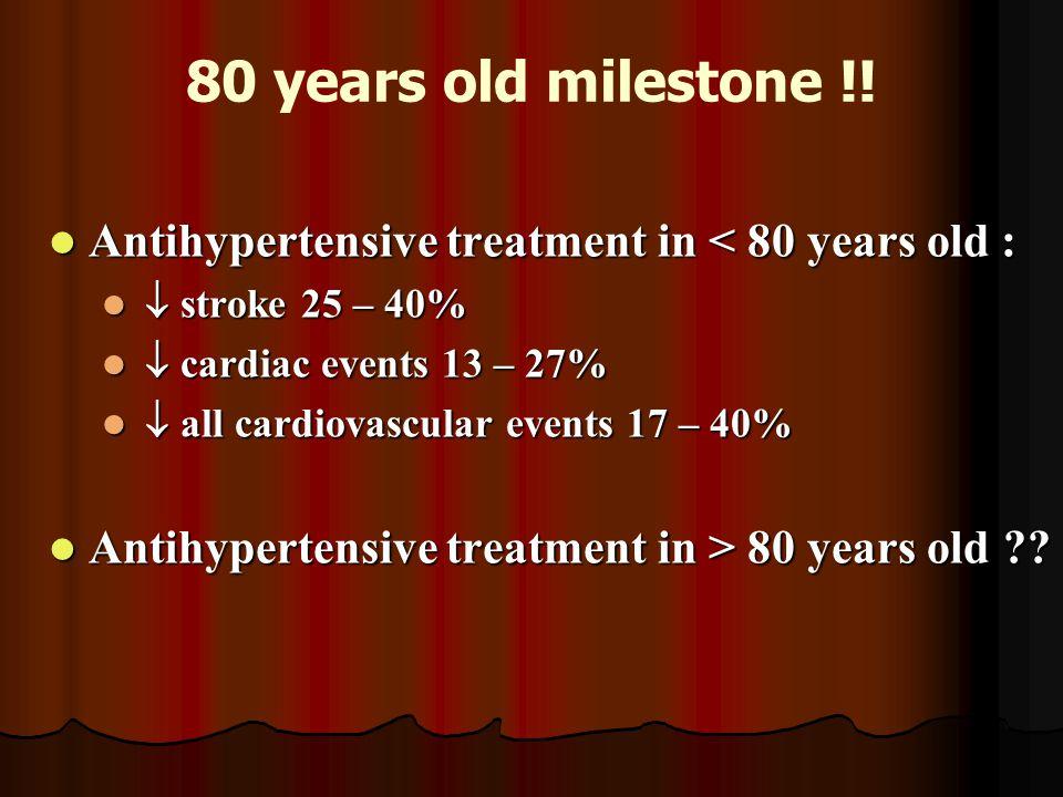 80 years old milestone !! Antihypertensive treatment in < 80 years old : Antihypertensive treatment in < 80 years old :  stroke 25 – 40%  stroke 25