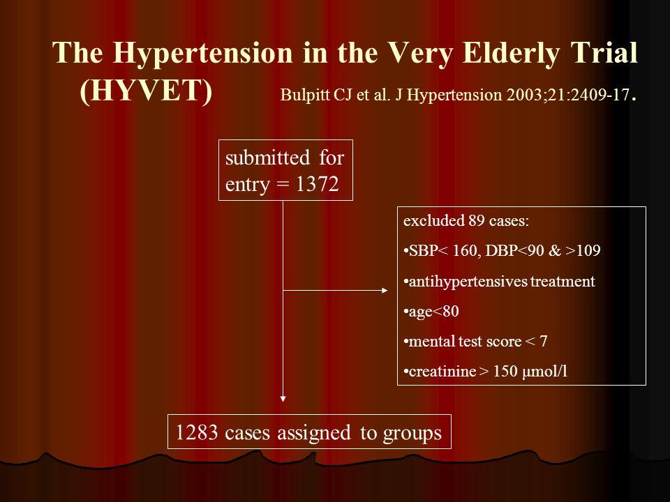 The Hypertension in the Very Elderly Trial (HYVET) Bulpitt CJ et al. J Hypertension 2003;21:2409-17. submitted for entry = 1372 1283 cases assigned to