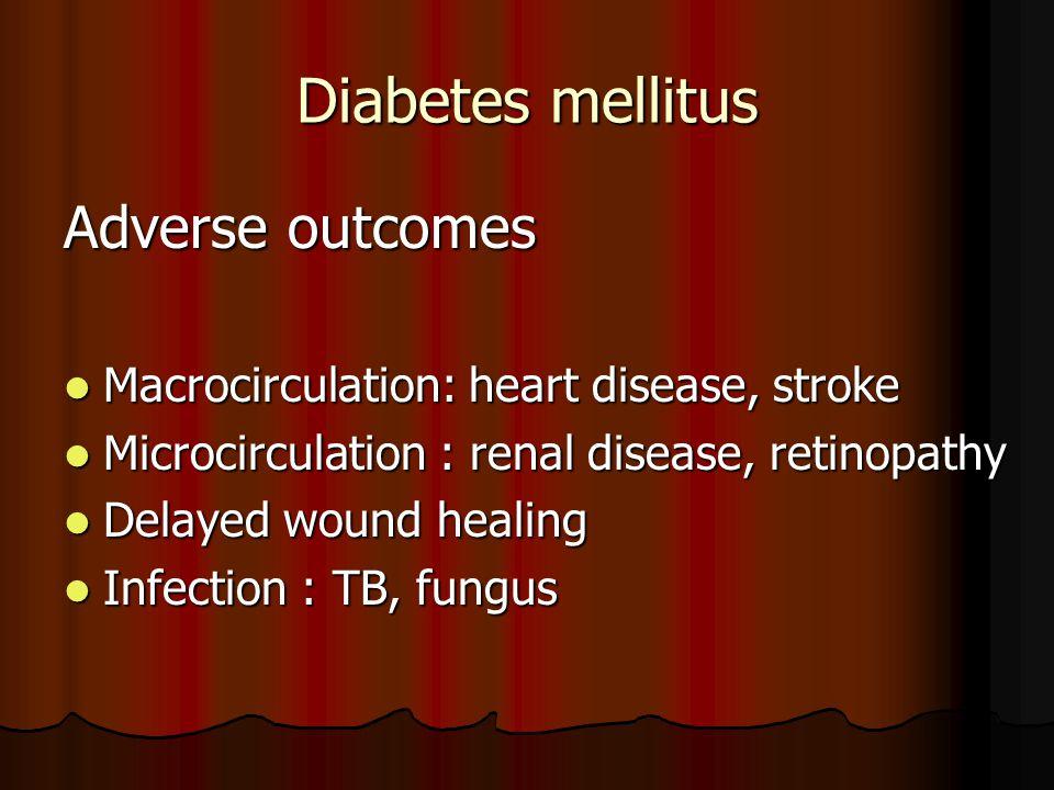 Diabetes mellitus Adverse outcomes Macrocirculation: heart disease, stroke Macrocirculation: heart disease, stroke Microcirculation : renal disease, r