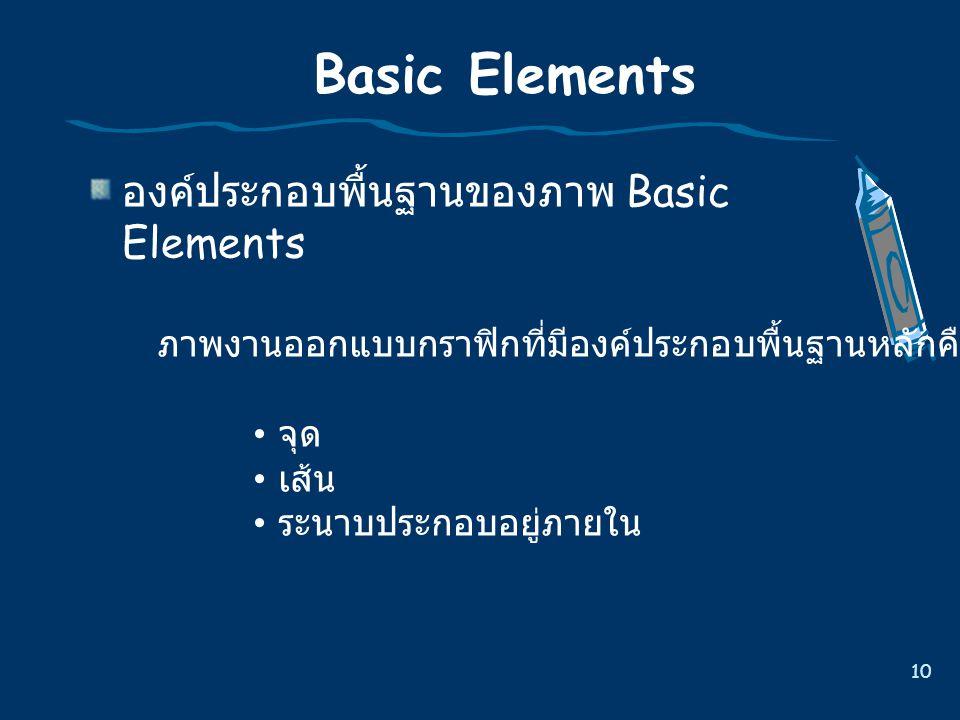 10 Basic Elements องค  ประกอบพื้นฐานของภาพ Basic Elements ภาพงานออกแบบกราฟกที่มีองคประกอบพื้นฐานหลักคือ จุด เสน ระนาบประกอบอยูภายใน