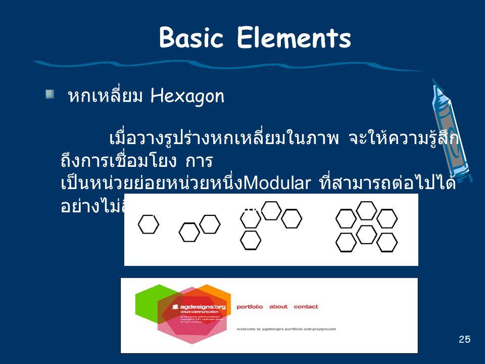 25 Basic Elements หกเหลี่ยม Hexagon เมื่อวางรูปรางหกเหลี่ยมในภาพ จะใหความรูสึก ถึงการเชื่อมโยง การ เปนหนวยยอยหนวยหนึ่ง Modular ที่สามารถตอไปได