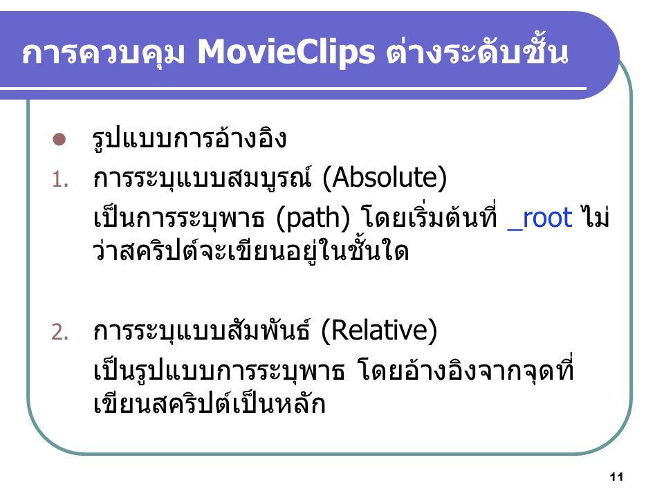 11 การควบคุม MovieClips ต่างระดับชั้น รูปแบบการอ้างอิง 1.