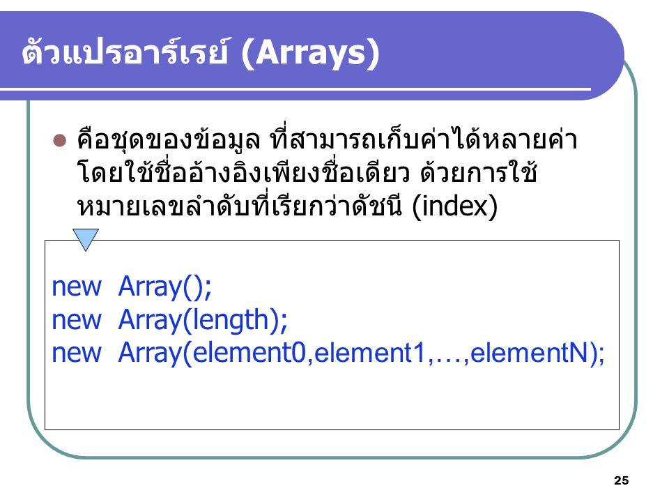 25 ตัวแปรอาร์เรย์ (Arrays) คือชุดของข้อมูล ที่สามารถเก็บค่าได้หลายค่า โดยใช้ชื่ออ้างอิงเพียงชื่อเดียว ด้วยการใช้ หมายเลขลำดับที่เรียกว่าดัชนี (index) newArray(); newArray(length); newArray(element0,element1,…,elementN);