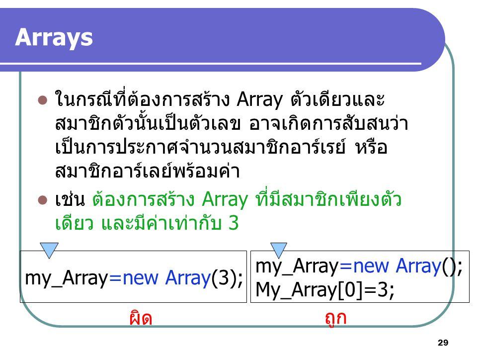 29 Arrays ในกรณีที่ต้องการสร้าง Array ตัวเดียวและ สมาชิกตัวนั้นเป็นตัวเลข อาจเกิดการสับสนว่า เป็นการประกาศจำนวนสมาชิกอาร์เรย์ หรือ สมาชิกอาร์เลย์พร้อมค่า เช่น ต้องการสร้าง Array ที่มีสมาชิกเพียงตัว เดียว และมีค่าเท่ากับ 3 my_Array=new Array(3); my_Array=new Array(); My_Array[0]=3; ผิด ถูก