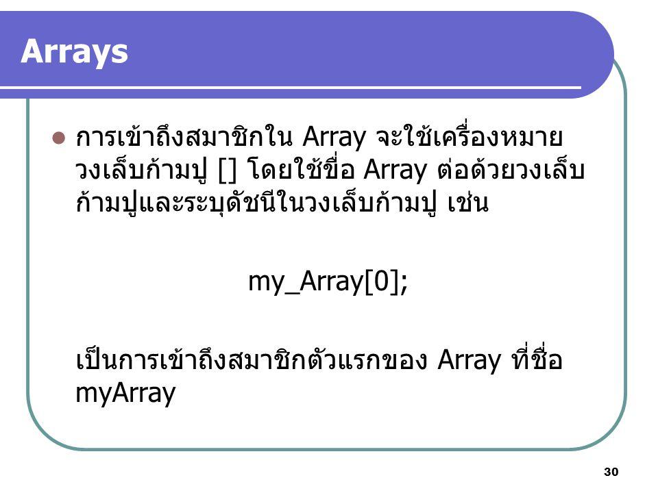 30 Arrays การเข้าถึงสมาชิกใน Array จะใช้เครื่องหมาย วงเล็บก้ามปู [] โดยใช้ขื่อ Array ต่อด้วยวงเล็บ ก้ามปูและระบุดัชนีในวงเล็บก้ามปู เช่น my_Array[0]; เป็นการเข้าถึงสมาชิกตัวแรกของ Array ที่ชื่อ myArray