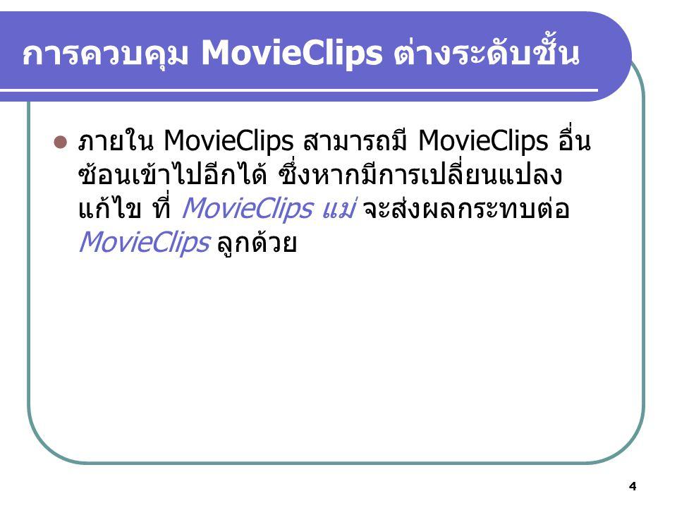 5 การควบคุม MovieClips ต่างระดับชั้น Root mc_Square mc_Triangle mc_Circle mc_Star