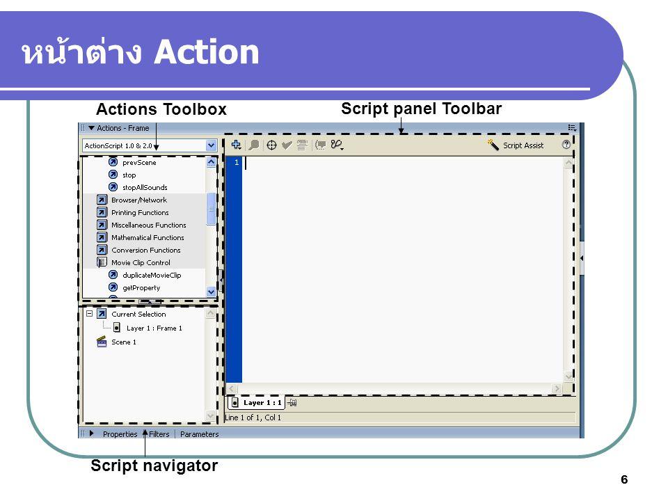 6 หน้าต่าง Action Actions Toolbox Script navigator Script panel Toolbar
