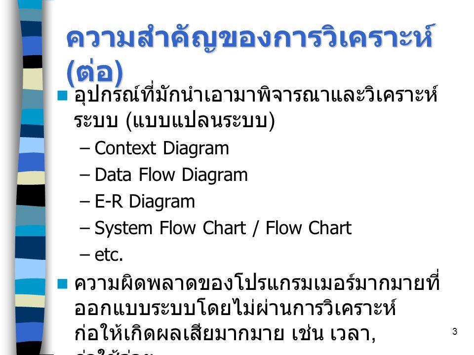 3 ความสำคัญของการวิเคราะห์ ( ต่อ ) อุปกรณ์ที่มักนำเอามาพิจารณาและวิเคราะห์ ระบบ ( แบบแปลนระบบ ) –Context Diagram –Data Flow Diagram –E-R Diagram –System Flow Chart / Flow Chart –etc.