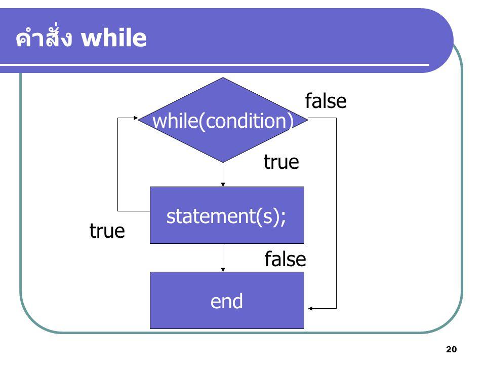 20 คำสั่ง while while(condition) statement(s); end true false true false