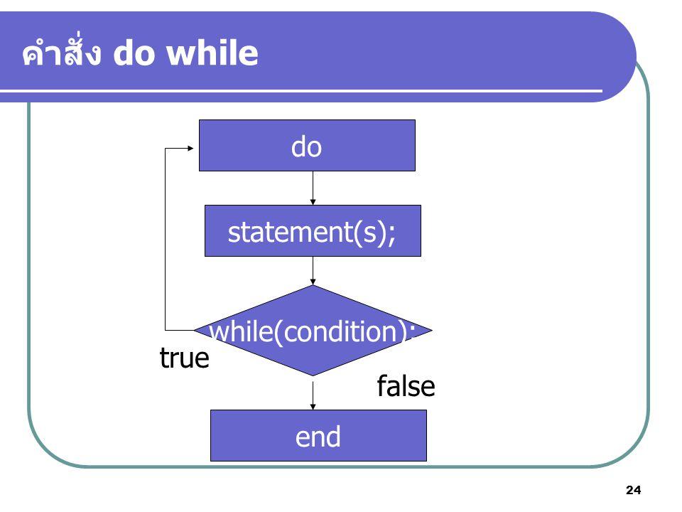 24 คำสั่ง do while while(condition); statement(s); end false true do