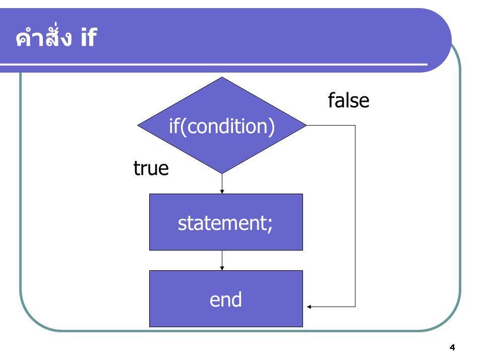 4 คำสั่ง if if(condition) statement; end true false