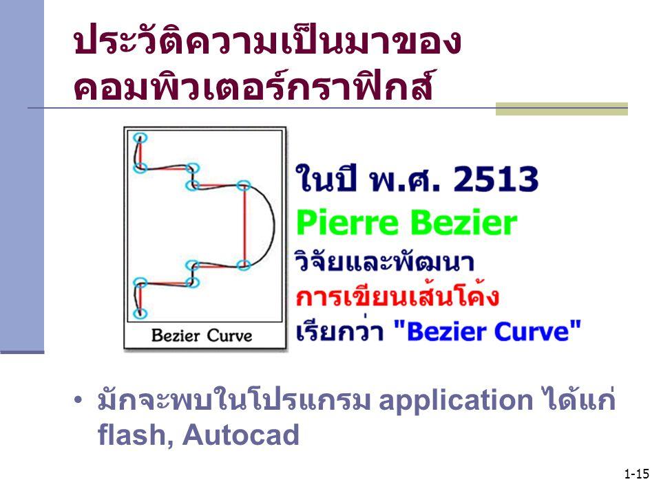 1-15 ประวัติความเป็นมาของ คอมพิวเตอร์กราฟิกส์ มักจะพบในโปรแกรม application ได้แก่ flash, Autocad