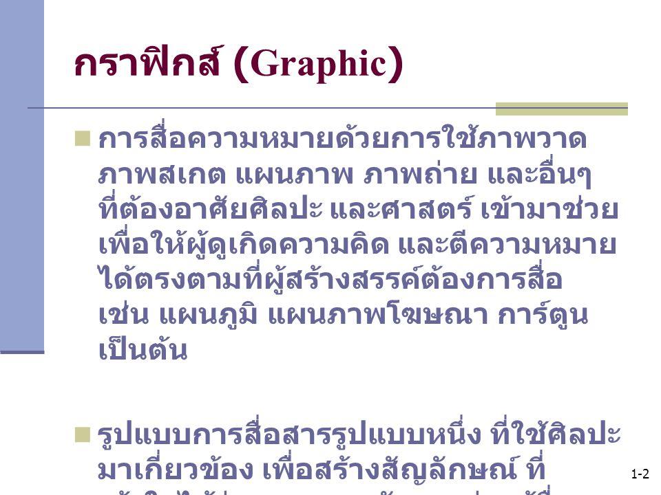 1-2 กราฟิกส์ (Graphic) การสื่อความหมายด้วยการใช้ภาพวาด ภาพสเกต แผนภาพ ภาพถ่าย และอื่นๆ ที่ต้องอาศัยศิลปะ และศาสตร์ เข้ามาช่วย เพื่อให้ผู้ดูเกิดความคิด
