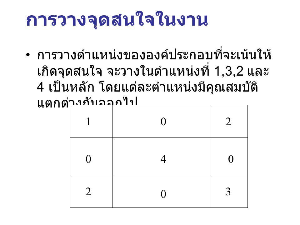 การวางจุดสนใจในงาน การวางตำแหน่งขององค์ประกอบที่จะเน้นให้ เกิดจุดสนใจ จะวางในตำแหน่งที่ 1,3,2 และ 4 เป็นหลัก โดยแต่ละตำแหน่งมีคุณสมบัติ แตกต่างกันออกไ