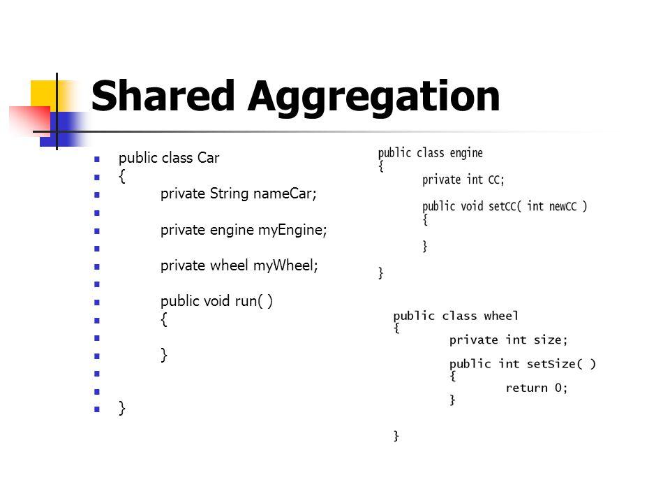 Shared Aggregation public class Car { private String nameCar; private engine myEngine; private wheel myWheel; public void run( ) { } }
