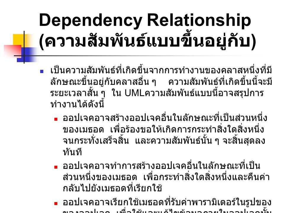 Dependency Relationship ( ความสัมพันธ์แบบขึ้นอยู่กับ ) เป็นความสัมพันธ์ที่เกิดขึ้นจากการทำงานของคลาสหนึ่งที่มี ลักษณะขึ้นอยู่กับคลาสอื่น ๆ ความสัมพันธ