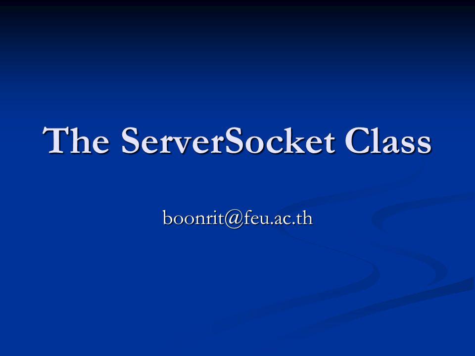 try { try { ServerSocket server = new ServerSocket(2048); ServerSocket server = new ServerSocket(2048); server.setSoTimeout(30000); // block for no more than 30 seconds server.setSoTimeout(30000); // block for no more than 30 seconds int timeout = server.getSoTimeOut( ); int timeout = server.getSoTimeOut( ); if (timeout > 0) { if (timeout > 0) { System.out.println(server + will time out after System.out.println(server + will time out after + timeout + milliseconds. ); + timeout + milliseconds. ); } } else if (timeout == 0) { else if (timeout == 0) { System.out.println(server + will never time out. ); System.out.println(server + will never time out. ); } } else { else { System.out.println( Impossible condition occurred in + server); System.out.println( Impossible condition occurred in + server); System.out.println( Timeout cannot be less than zero. ); System.out.println( Timeout cannot be less than zero. ); } } }