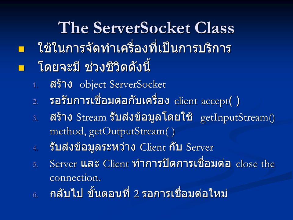 The Constructors public ServerSocket(int port) throws BindException, IOException public ServerSocket(int port) throws BindException, IOException public ServerSocket(int port, int queueLength) public ServerSocket(int port, int queueLength) throws BindException, IOException throws BindException, IOException public ServerSocket(int port, int queueLength, InetAddress bindAddress) public ServerSocket(int port, int queueLength, InetAddress bindAddress) throws IOException throws IOException public ServerSocket( ) throws IOException // Java 1.4 public ServerSocket( ) throws IOException // Java 1.4