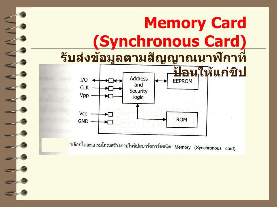 Memory Card (Synchronous Card) รับส่งข้อมูลตามสัญญาณนาฬิกาที่ ป้อนให้แก่ชิป