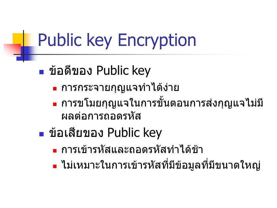 Public key Encryption ข้อดีของ Public key การกระจายกุญแจทำได้ง่าย การขโมยกุญแจในการขั้นตอนการส่งกุญแจไม่มี ผลต่อการถอดรหัส ข้อเสียของ Public key การเข