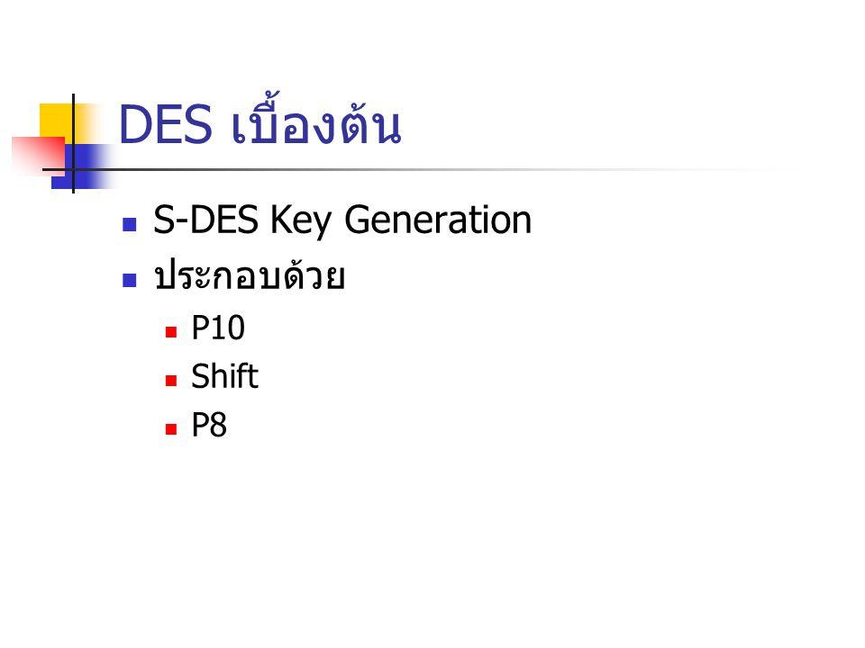 DES เบื้องต้น S-DES Key Generation ประกอบด้วย P10 Shift P8