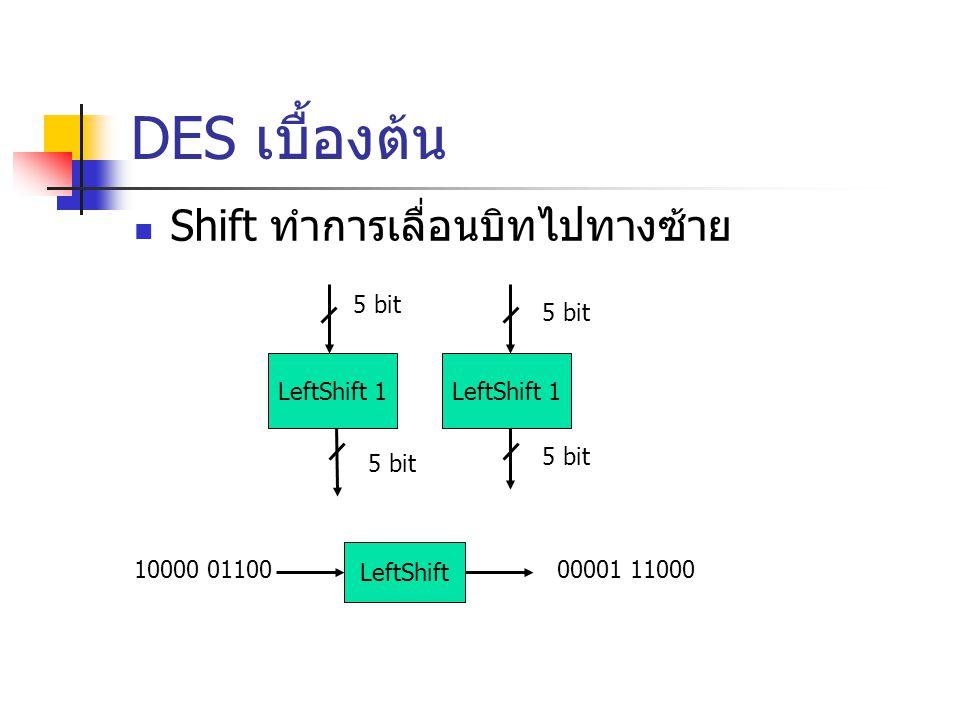 DES เบื้องต้น Shift ทำการเลื่อนบิทไปทางซ้าย LeftShift 1 5 bit 10000 01100 LeftShift 00001 11000