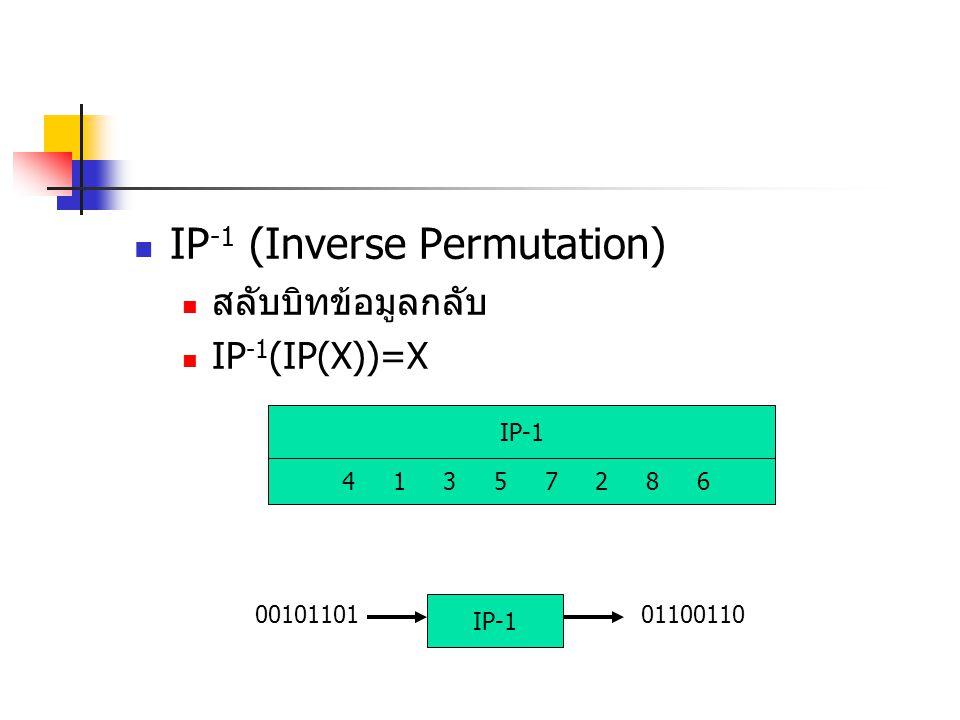 IP -1 (Inverse Permutation) สลับบิทข้อมูลกลับ IP -1 (IP(X))=X IP-1 4 1 3 5 7 2 8 6 01100110 IP-1 00101101