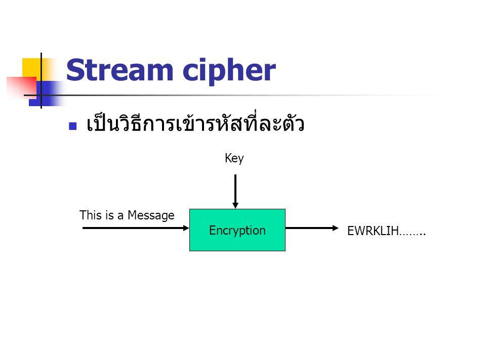 Stream cipher ข้อดีของ stream cipher ความเร็วในการเข้ารหัสและถอดรหัส ความผิดพลาดต่ำ ข้อเสียของ stream cipher เกิดการซ้ำกันของตัวอักษร ง่ายต่อการ วิเคราะห์ ง่ายต่อการเปลี่ยนแปลงแก้ไขข้อมูล เช่น จำนวนเงิน