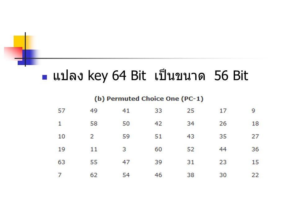 แปลง key 64 Bit เป็นขนาด 56 Bit