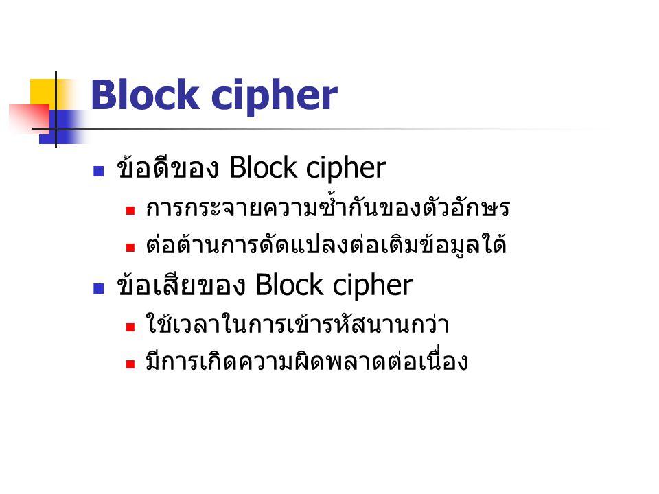 Block cipher ข้อดีของ Block cipher การกระจายความซ้ำกันของตัวอักษร ต่อต้านการดัดแปลงต่อเติมข้อมูลใด้ ข้อเสียของ Block cipher ใช้เวลาในการเข้ารหัสนานกว่