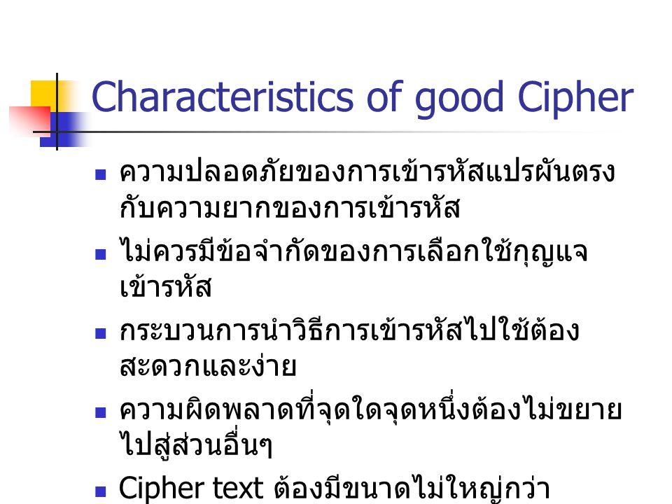 Characteristics of good Cipher ความปลอดภัยของการเข้ารหัสแปรผันตรง กับความยากของการเข้ารหัส ไม่ควรมีข้อจำกัดของการเลือกใช้กุญแจ เข้ารหัส กระบวนการนำวิธ