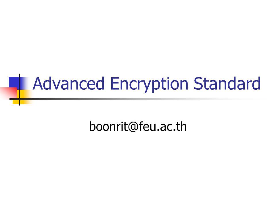 Advanced Encryption Standard boonrit@feu.ac.th