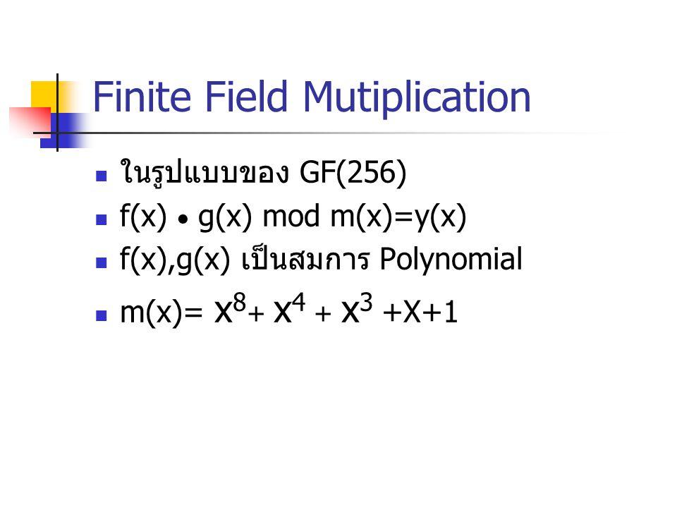 Finite Field Mutiplication ในรูปแบบของ GF(256) f(x)  g(x) mod m(x)=y(x) f(x),g(x) เป็นสมการ Polynomial m(x)= x 8 + x 4 + x 3 +X+1
