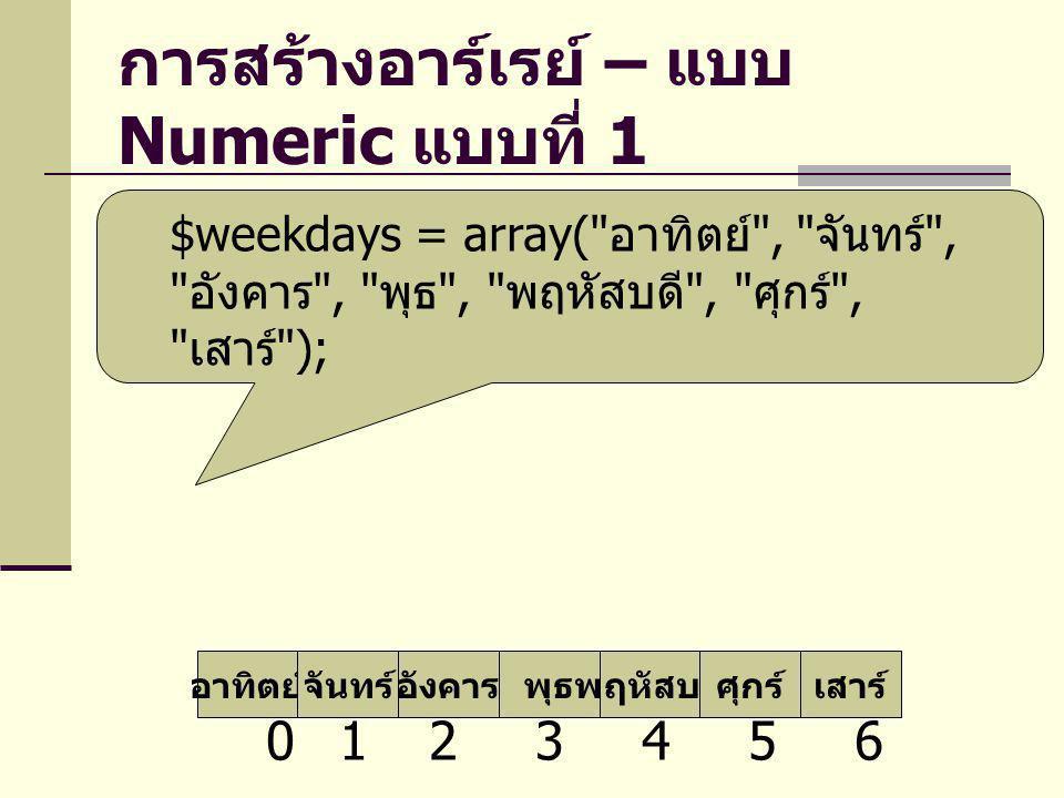 การสร้างอาร์เรย์ – แบบ Numeric แบบที่ 1 $weekdays = array(